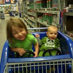 kids in cart