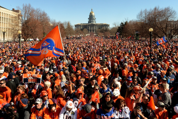 A large crowd gathers in Civic Center park during the Denver Broncos Super Bowl championship celebration and parade on Tuesday February 9, 2016. (Photo By AAron Ontiveroz/The Denver Post)